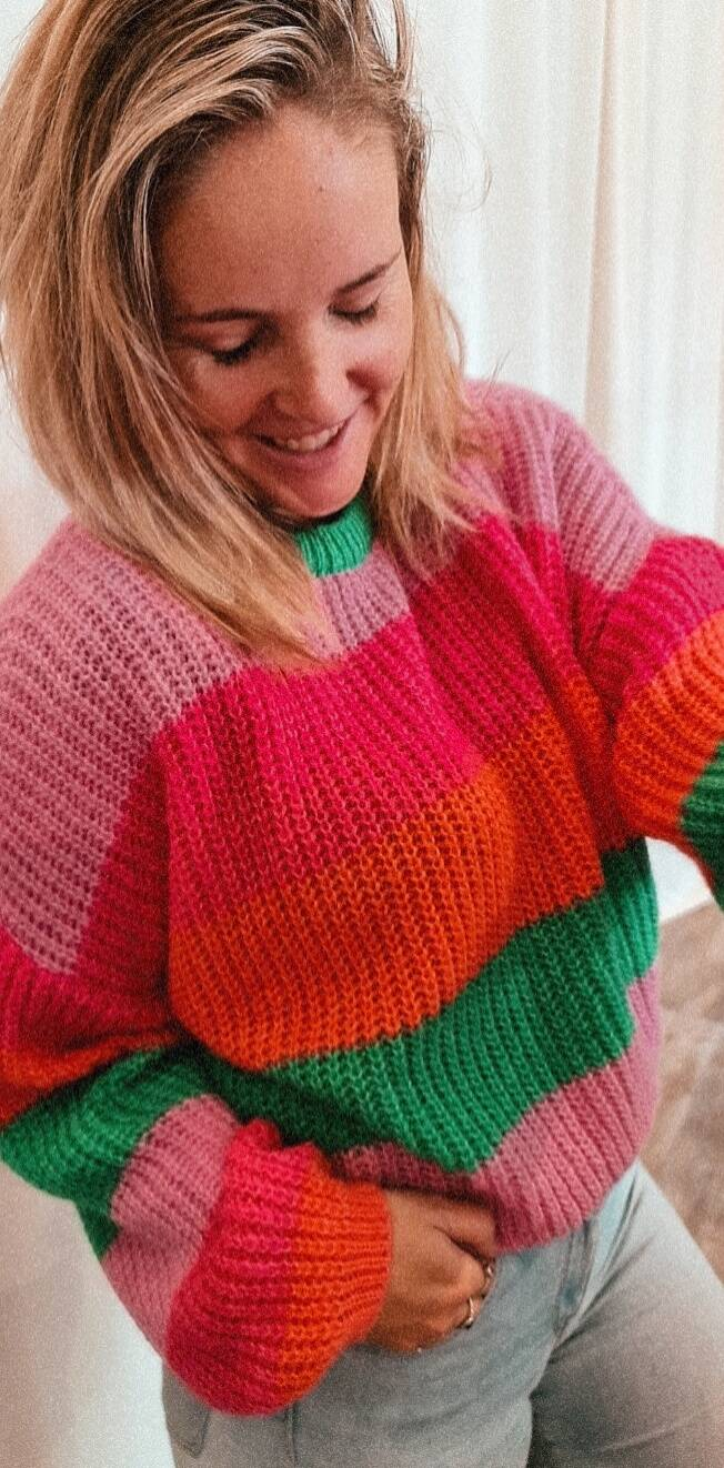 knitted striped colour pull