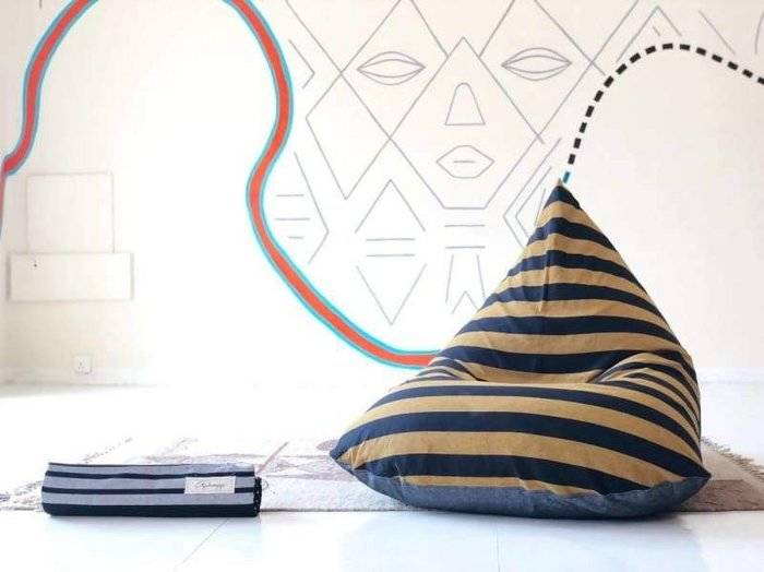 Saints Charcoal Striped Beanbag in Pure Cotton