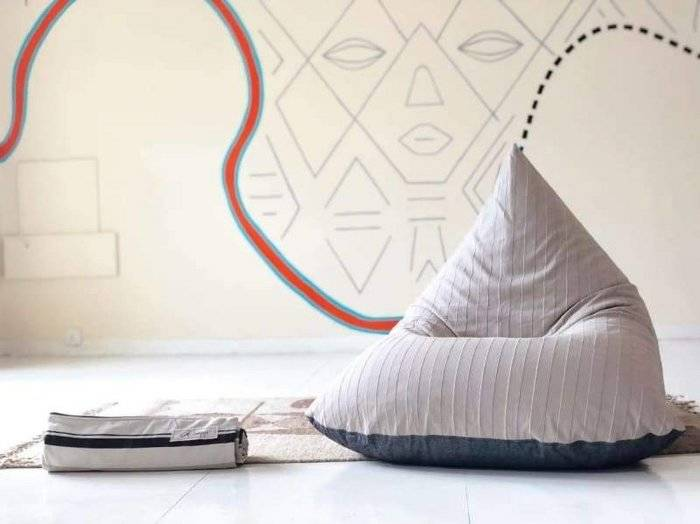 Calcite and Charcoal Beanbag in Pure Cotton