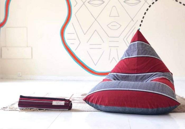 Afro Sand and Charcoal Handloom Bean Bag in Cotton