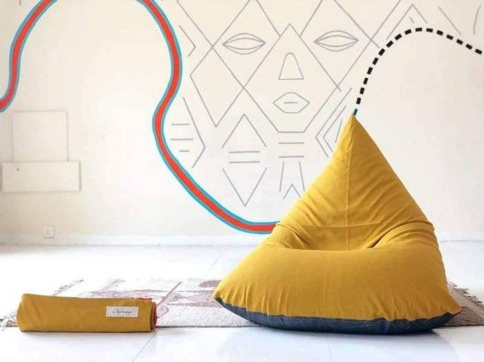 Mustard and Charcoal Beanbag in Pure Cotton
