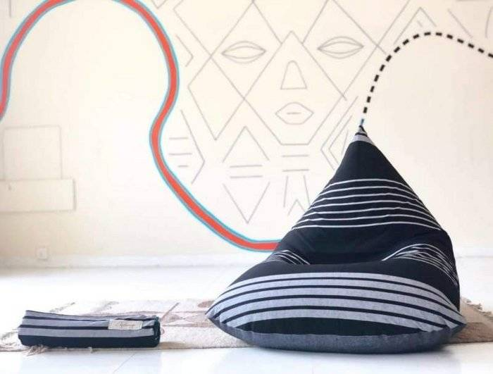 Classy Black and White Beanbag in Cotton