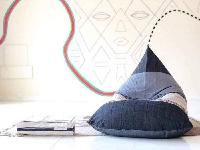Chalky Walters and Charcoal Beanbag in Cotton