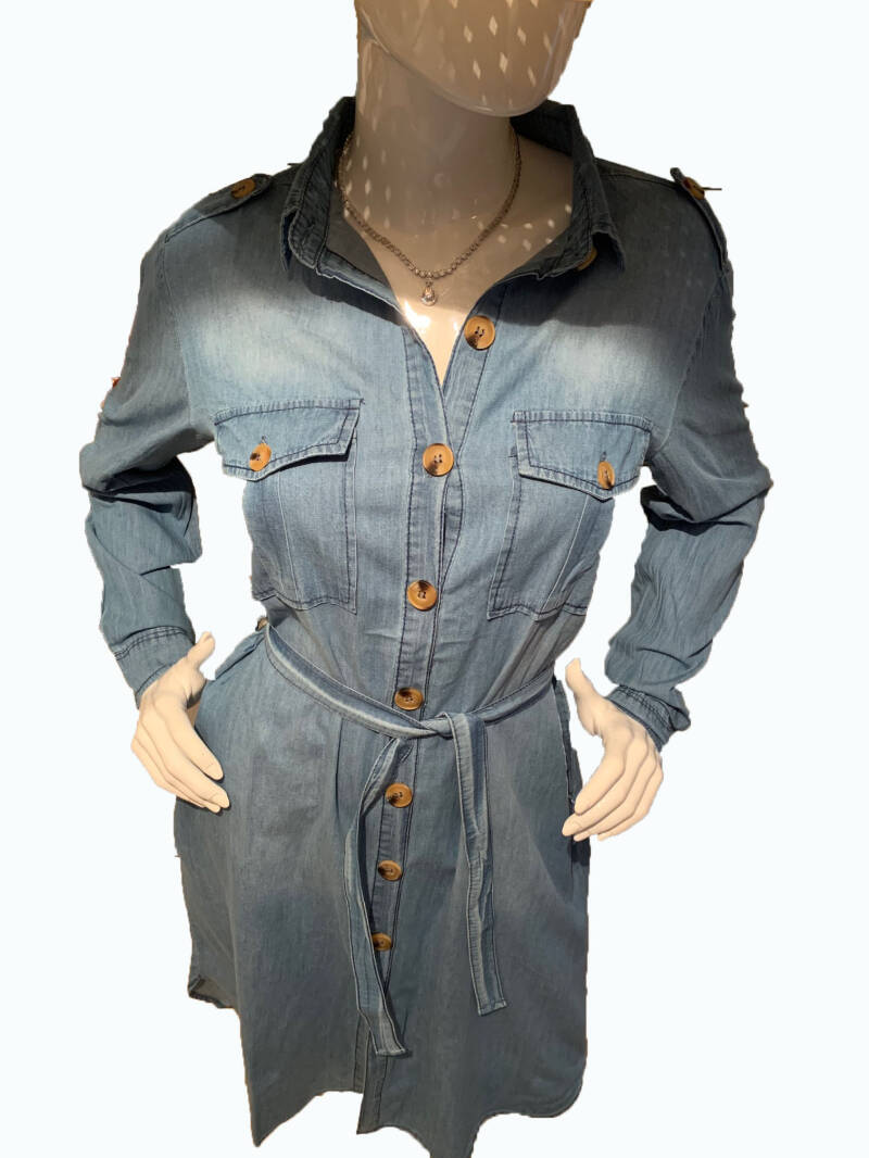 nieuwe mode spijker Blouse Jurk, new fashion denim-blous dress. 2019