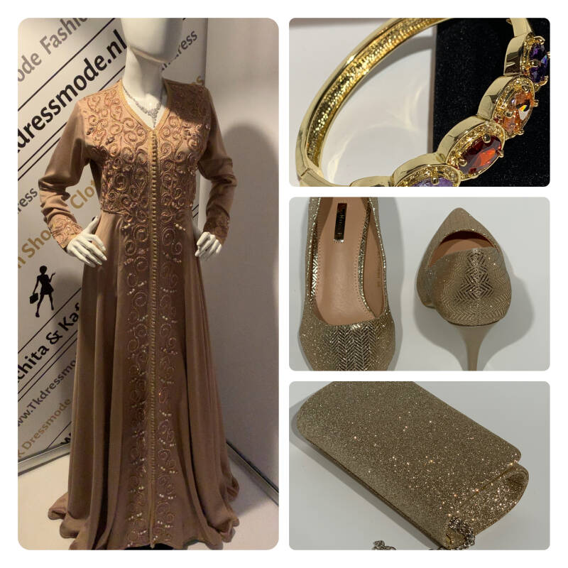 Kaftan, Handtas, Pumps Shoes & goudkleurige armband. Combinatie aanbieding