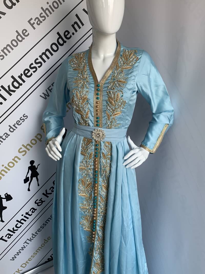 Kaftan Jurk, Caftan Dress sweet sea blue.