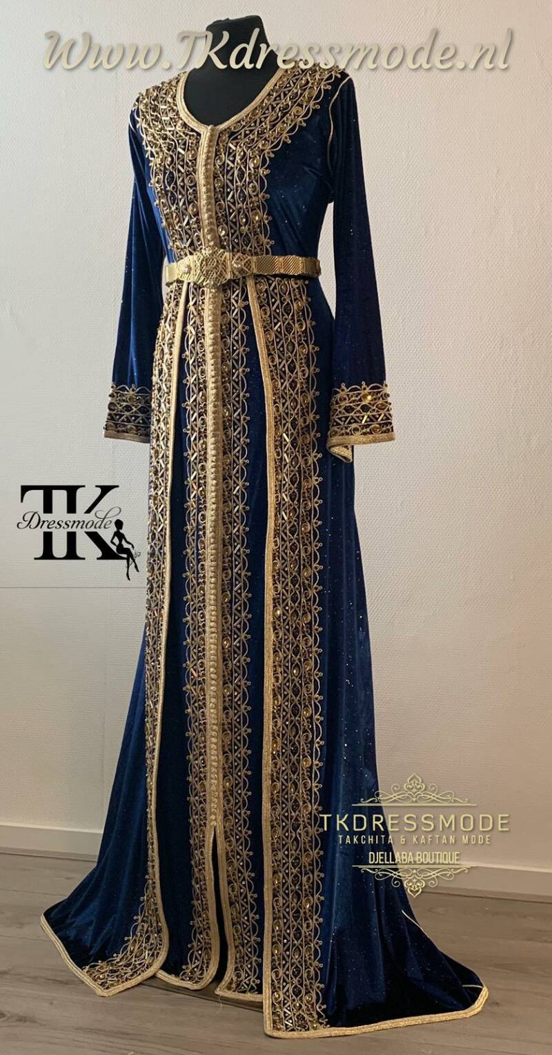 Kaftan Dress met Rok ( Mubra, Velvet )  Art. Nr 9.0011