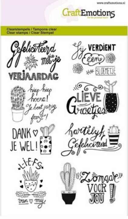 Craftemotions clear stamps A6 - Handletter - Cactus handlettering - Carla Kamphuis
