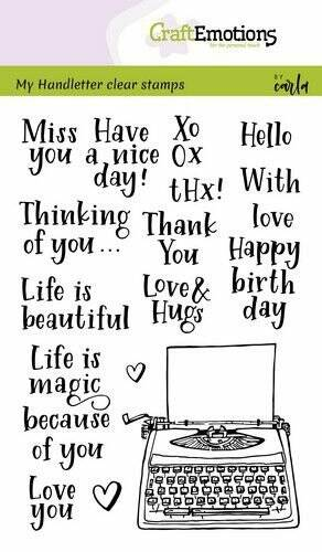 Craftemotions clear stamps A6 - Handletter - Typewriter quotes - Carla Kamphuis