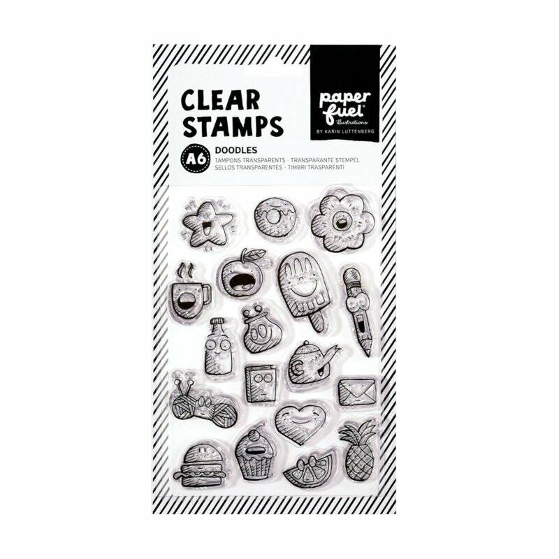 Paperfuel Clear stamp A6 doodles - set van 18