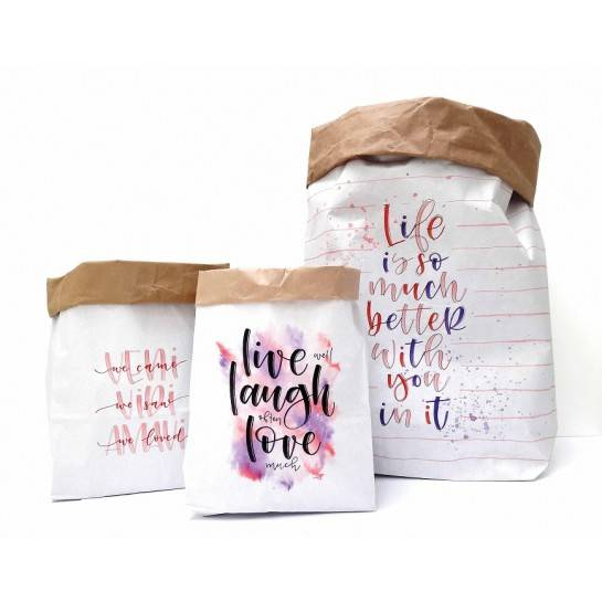 Papicolor set van 3 Paper Bags Love - designed by Carla Kamphuis