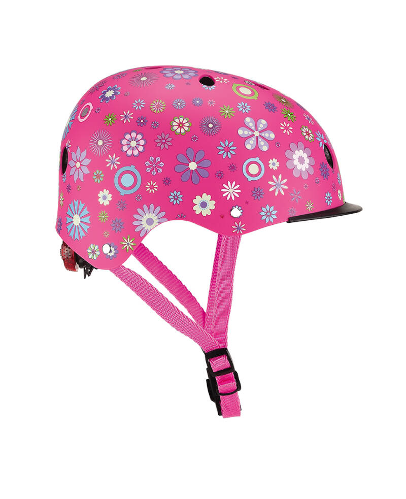 Globber Helm Elite KIDS Lights Pink Flowers