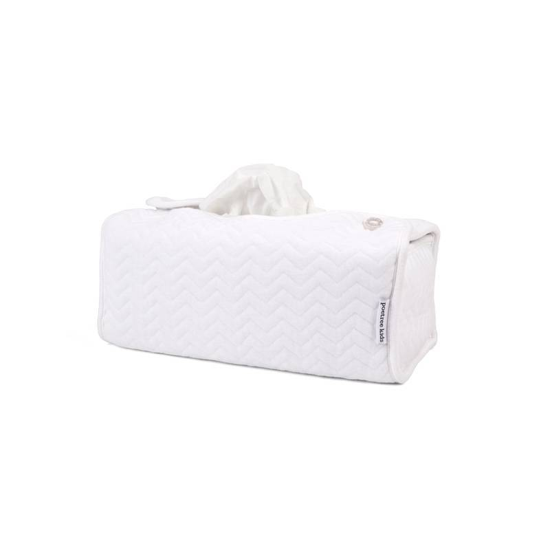 Tissue box hoes Chevron White