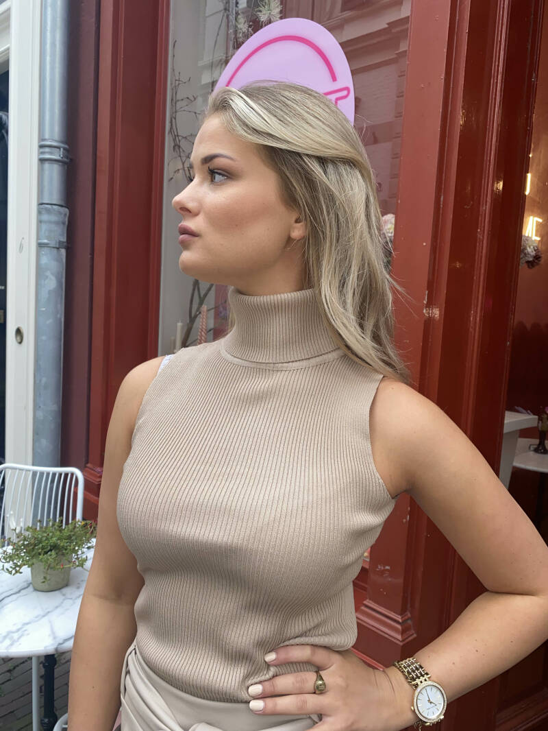 LAURA KNIT TOP TAUPE