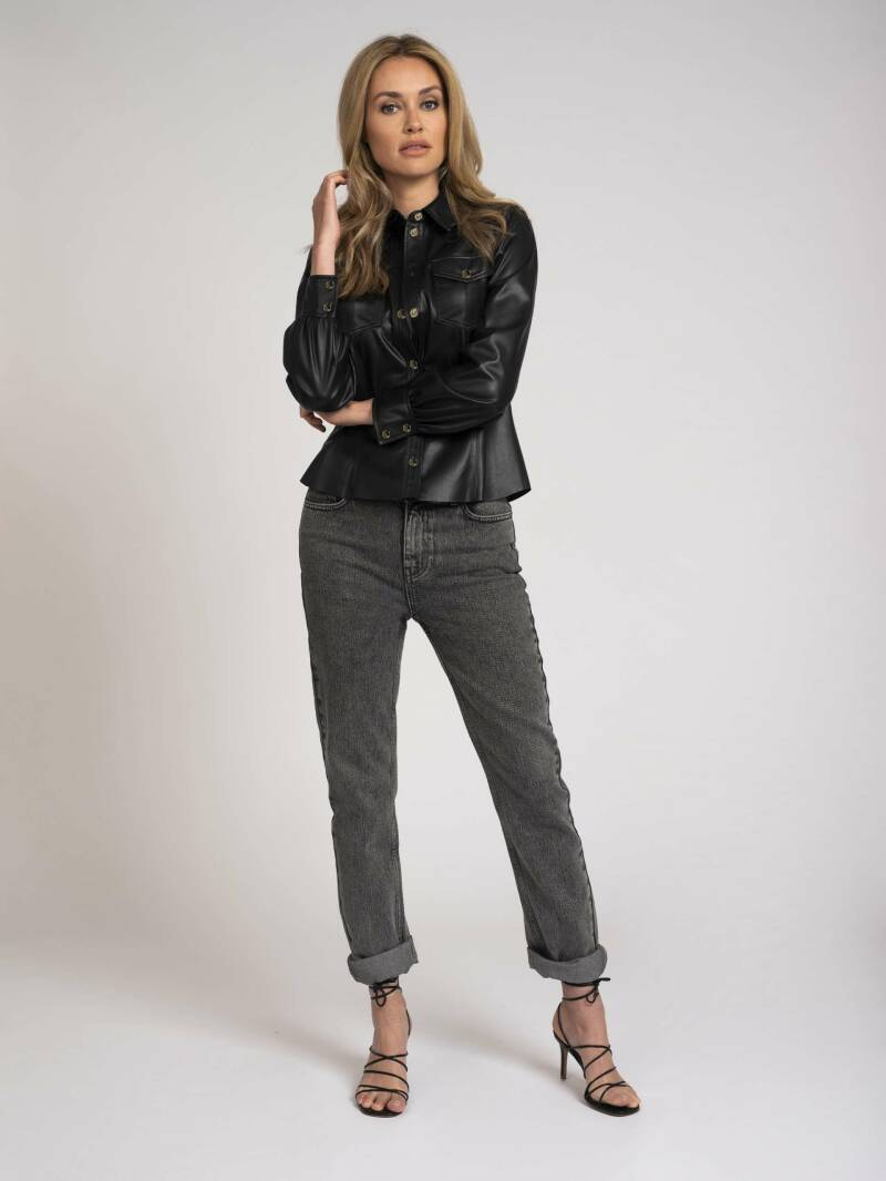 FIFTH HOUSE Vegan leather blouse with buttons MIA BLOUSE BLACK