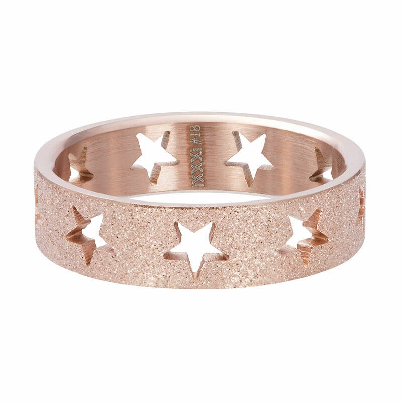 SALE iXXXi Jewelry vulring 6mm Stars sandblasted Rose Goud