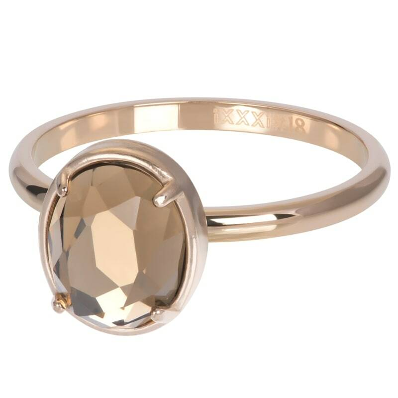 iXXXi Jewelry vulring 2mm Glam Oval Champagne Rose Goud