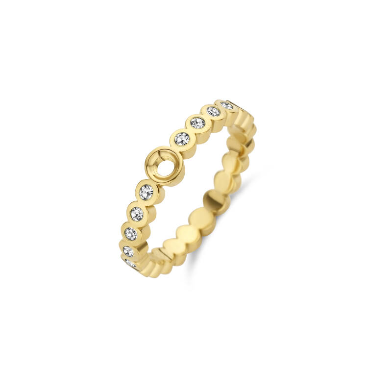Melano Jewelry Twisted Wave CZ Ring Goud