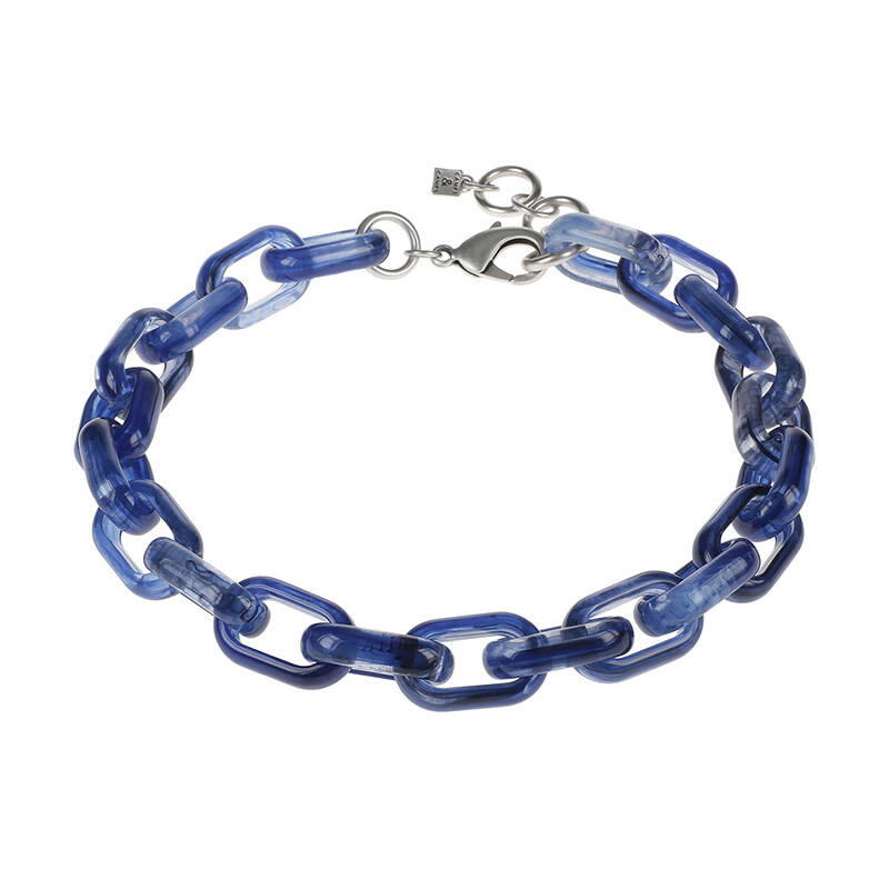 Camps & Camps Collier denim oval link chain (blauw)
