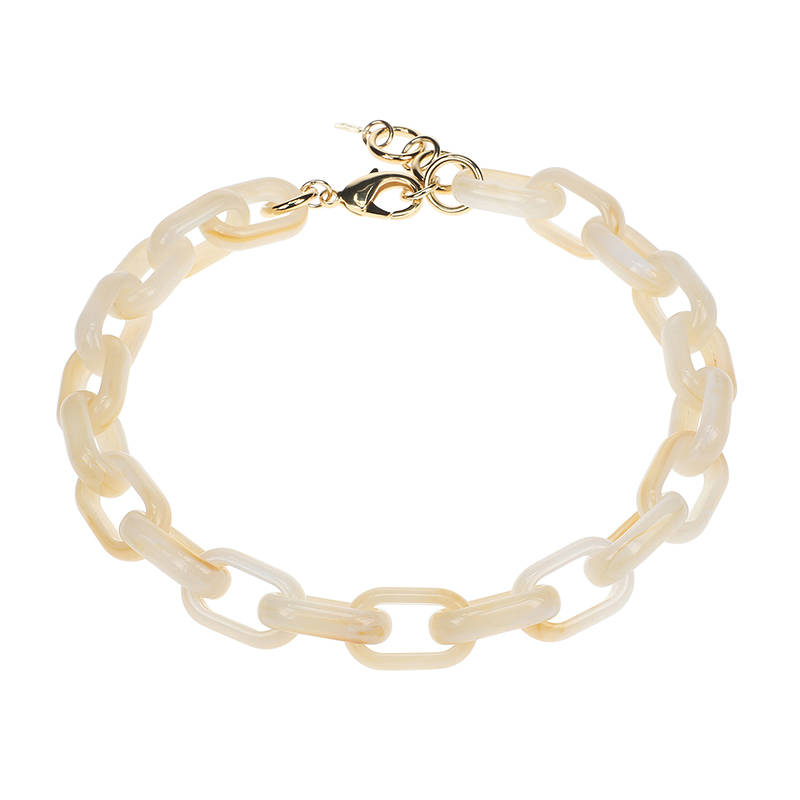 Camps & Camps Collier white opal oval link chain