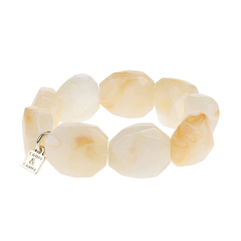 Camps & Camps Armband creamy facetted stone bracelet
