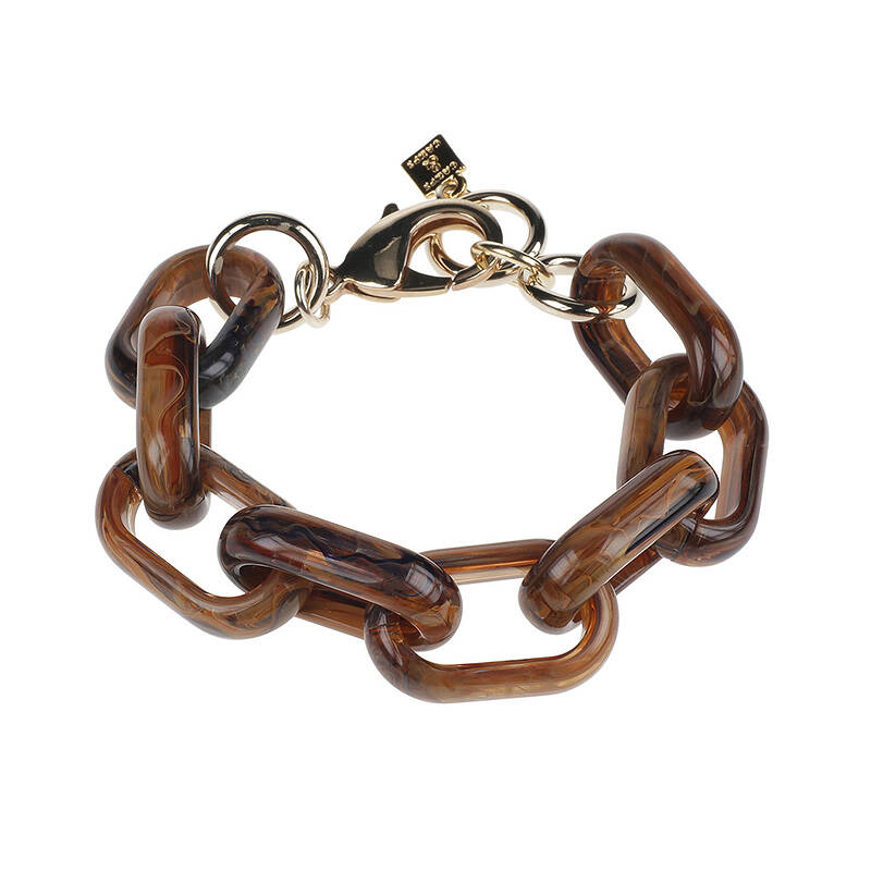 Camps & Camps Armband foxy oval link bracelet (bruin-blauw)