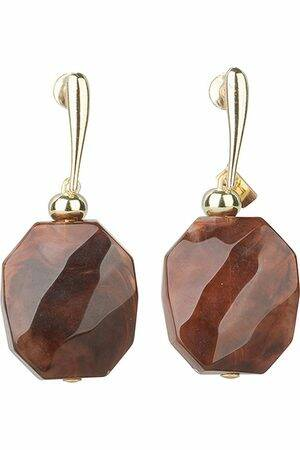 Camps & Camps Oorhangers facetted stone Bruin