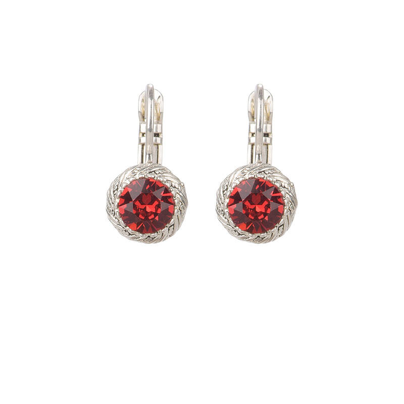Camps & Camps Oorbellen silver plated dormeuses rond rood