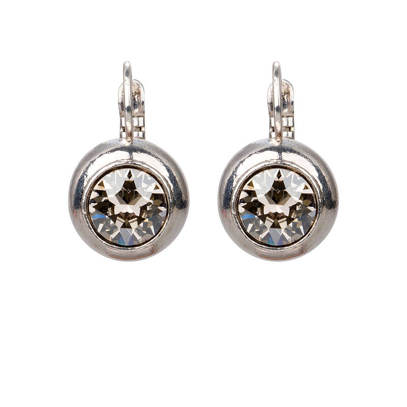 Camps & Camps Oorbellen silver plated dormeuse rond Kristal