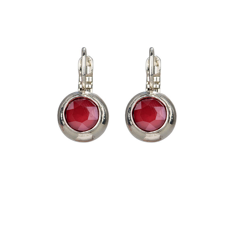 Camps & Camps Oorbellen silver plated dormeuse rond rood opaal