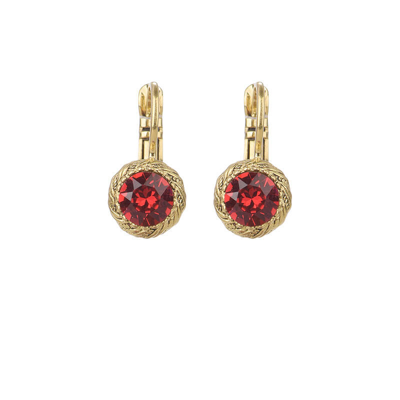 Camps & Camps Oorbellen gold plated dormeuse rond rood