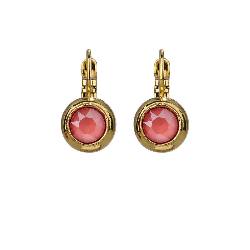 Camps & Camps Oorbellen gold plated dormeuse rond koraal rood