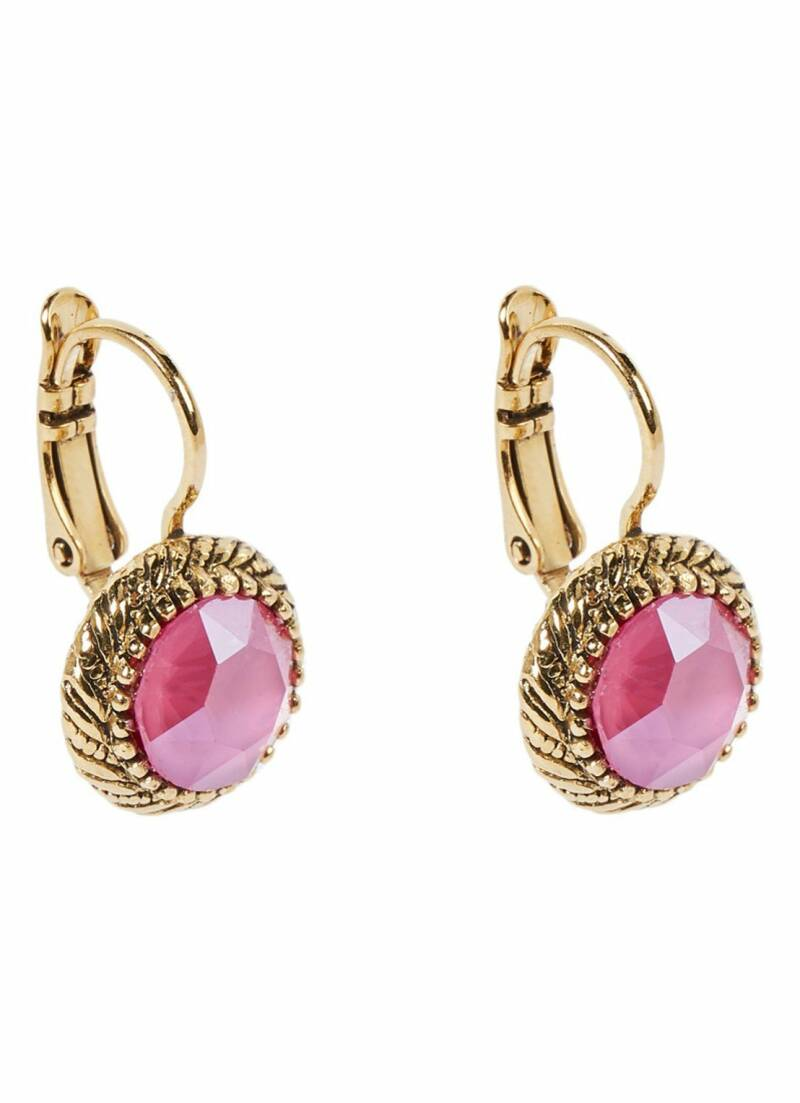 Camps & Camps Oorbellen gold plated dormeuse rond Roze