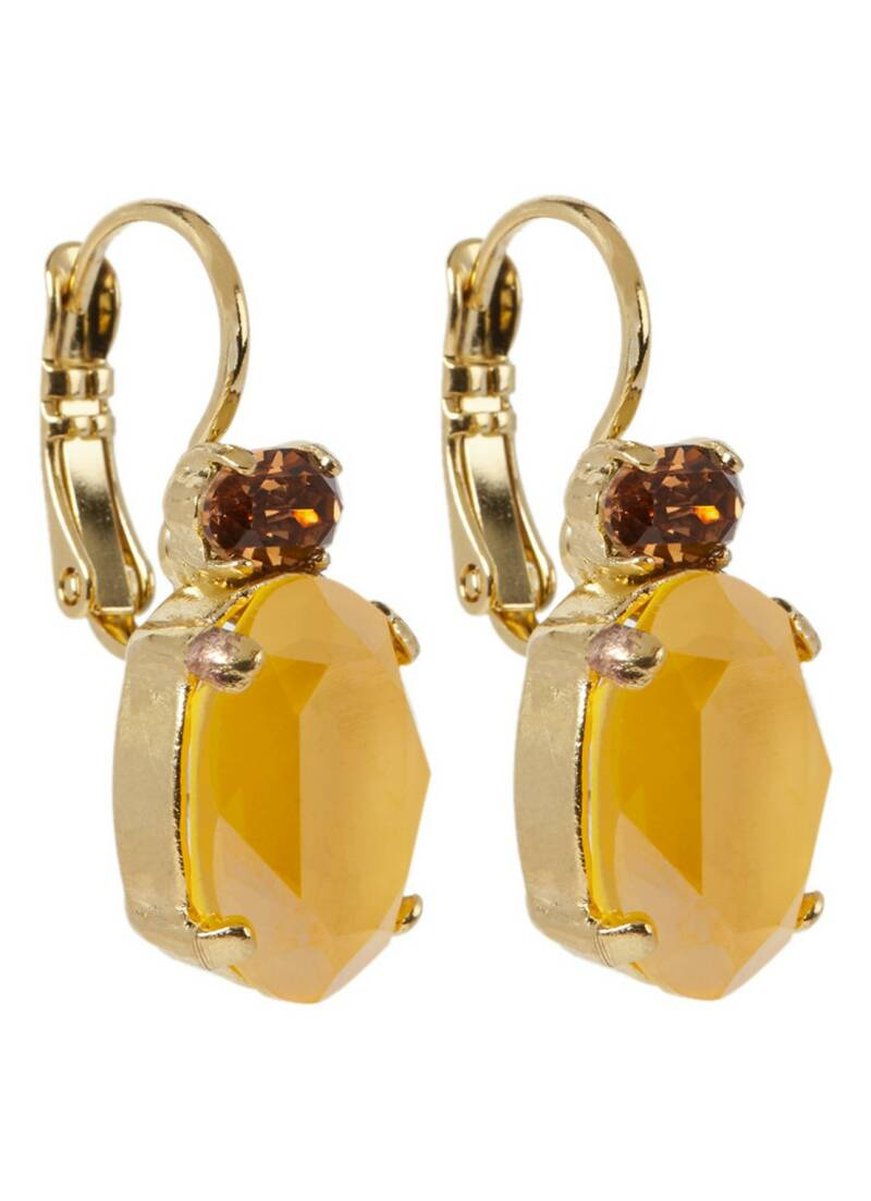 Camps & Camps Oorbellen gold plated dormeuse ovaal Maisgeel