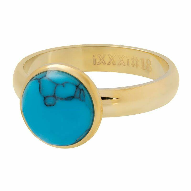 iXXXi Jewelry vulring 4mm 1 Blue Turquoise Stone 12 mm Goud