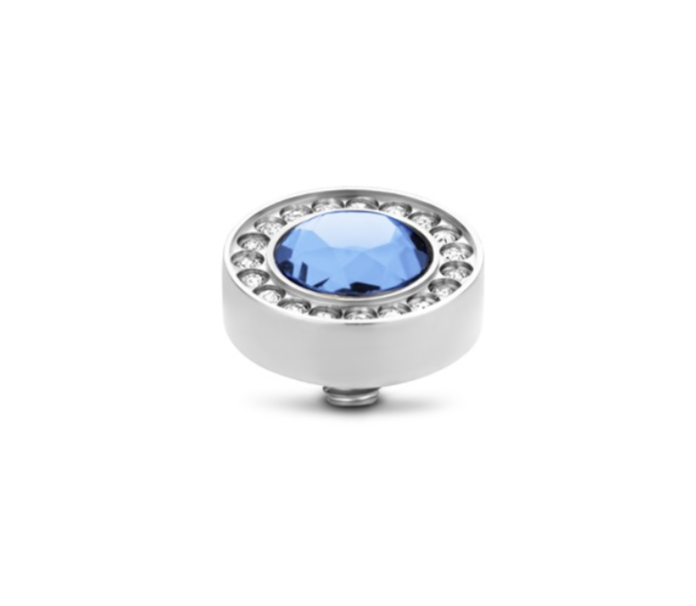 Melano Jewelry Twisted Halo Round cz Light Sapphire
