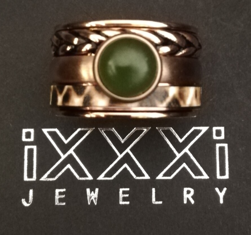 SALE iXXXi Jewelry Complete Ring 14mm Rosegoud, Groen & Leopard Print