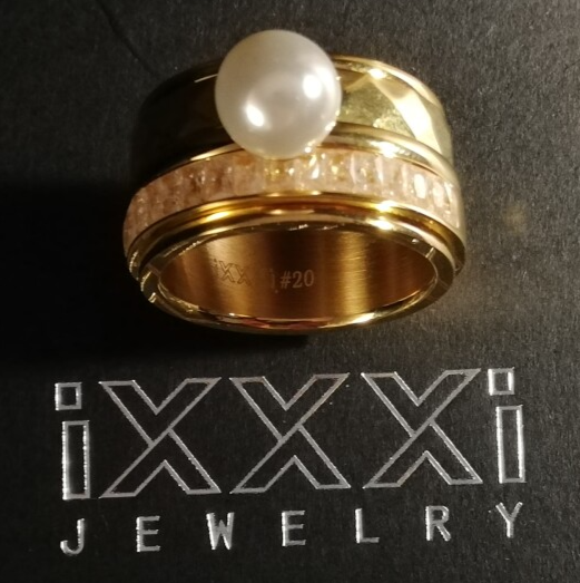 SALE iXXXi Jewelry Complete Ring 12mm Goud Parel & Glitter