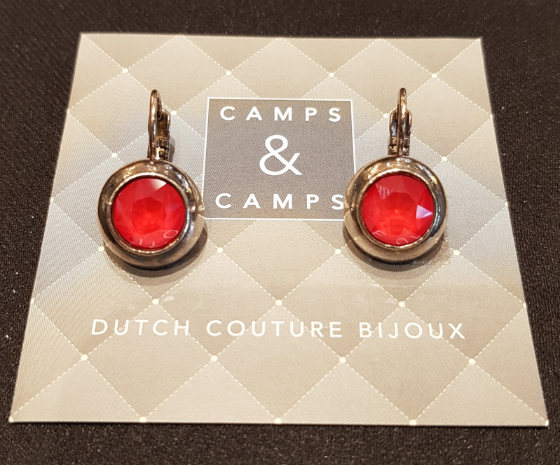 Camps & Camps Oorbellen silver plated dormeuse rond rood
