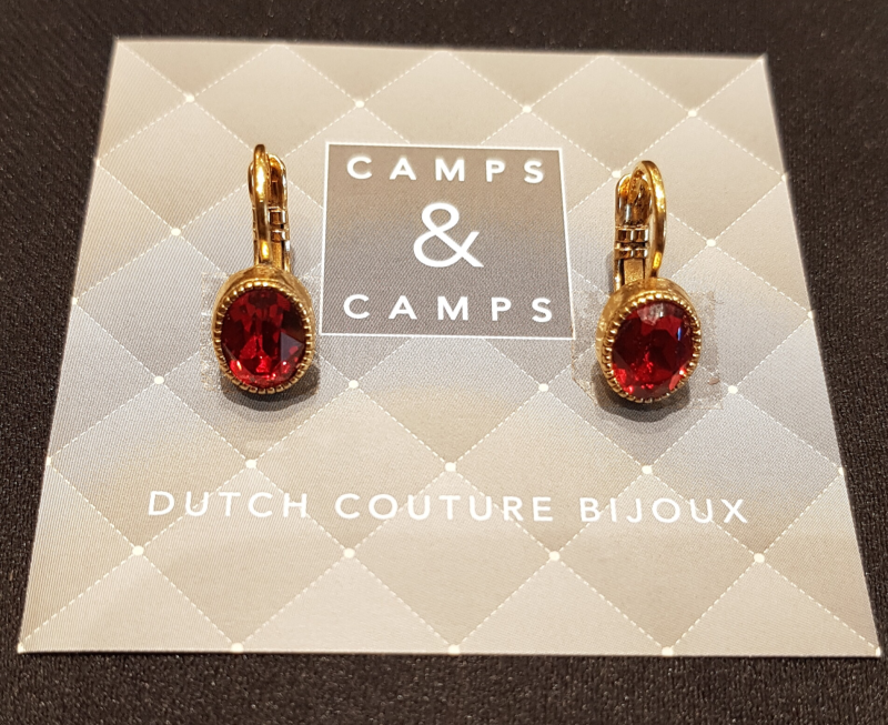 Camps & Camps Oorbellen gold plated dormeuse ovaal rood