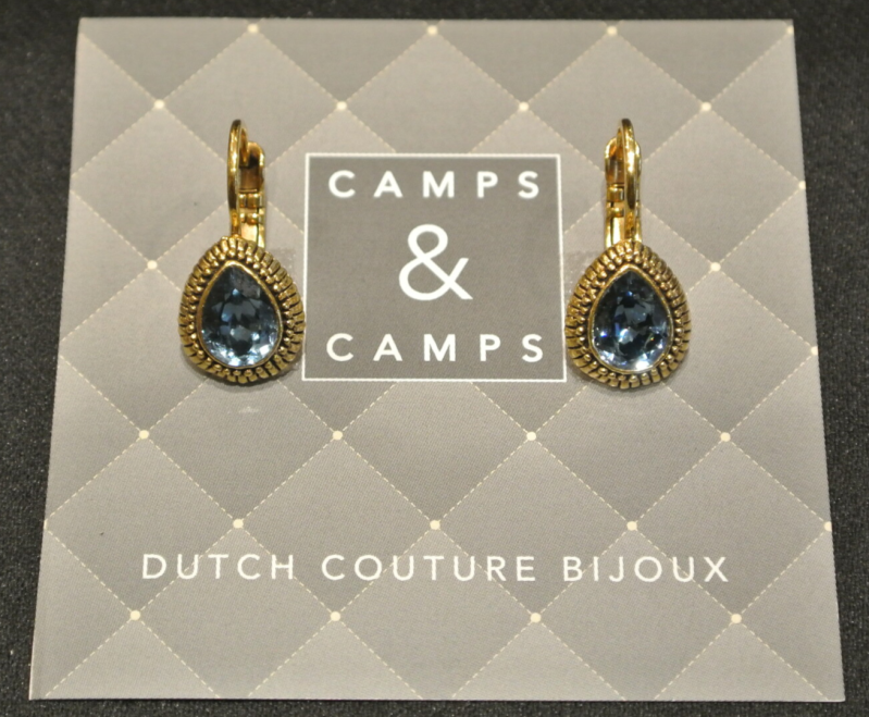 Camps & Camps Oorbellen gold plated dormeuse druppel blauw