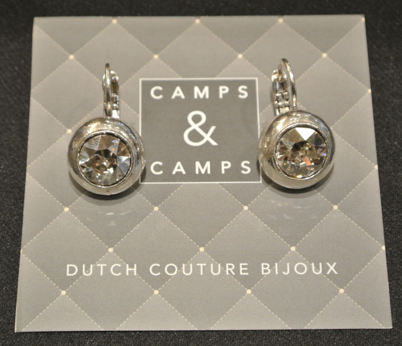 Camps & Camps Oorbellen silver plated dormeuse rond wit kristal