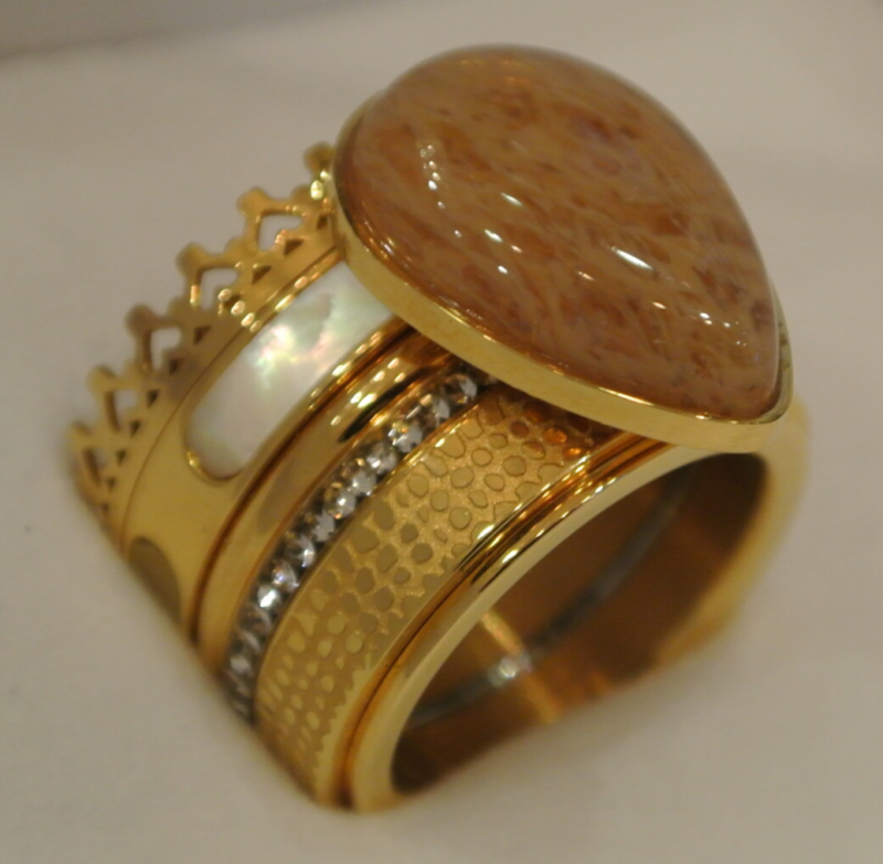 iXXXi Jewelry Complete Ring 14mm Grote Druppel Goud