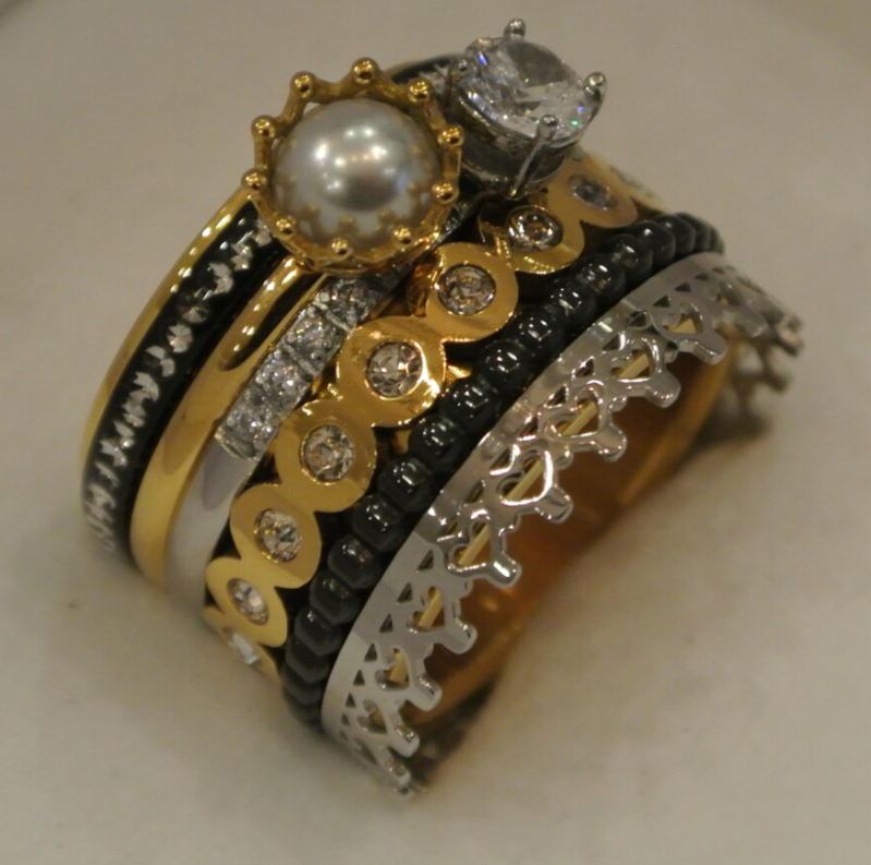 iXXXi Jewelry Complete Ring 14mm Parel / Diamant / Tricolor
