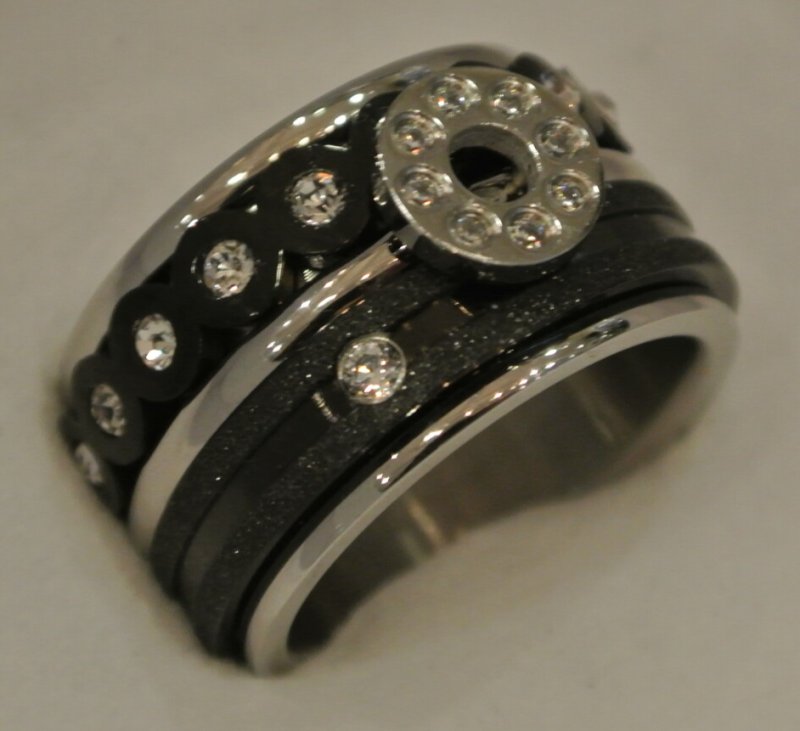 iXXXi Jewelry Complete Ring 12mm Flat Crystal Zwart / Zilver