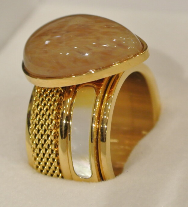 iXXXi Jewelry Complete Ring 12mm Grote Druppel Champagne / Goud / Parelmoer