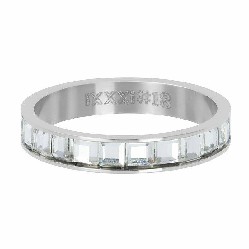 iXXXi Jewelry vulring 4mm Clear Glass White Zilver