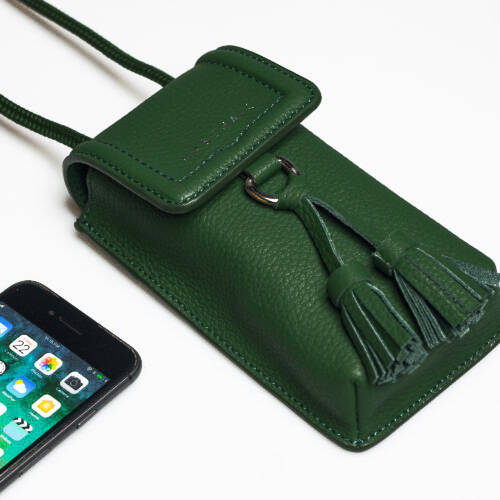 Phone bag Forest green / gold