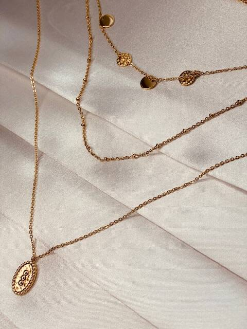 Layerd Necklace Coins Gold