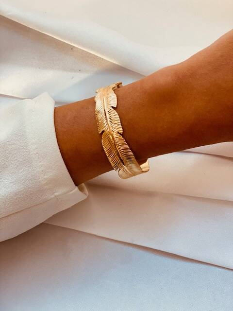 Hoop Bracelet Feather Gold
